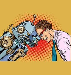 many robots vs human humanity and technology vector image vector image
