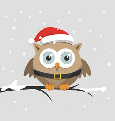 christmas male owl with santa claus hat vector image vector image