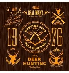 Deer Hunting - set for hunting emblem vector image