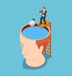 isometric businessman fishing light bulb of idea vector image