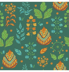 Seasonal Seamless Pattern with Leaves and Flower vector image vector image
