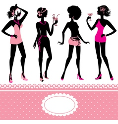 Set of fashionable girls silhouettes on a white vector image