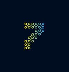 7 circuit technology letter logo icon design vector