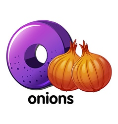 A letter O for onions vector