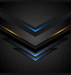 abstract black arrows with blue orange glowing vector image