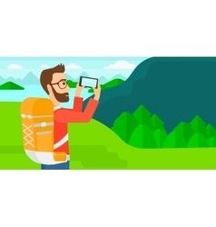 Backpacker taking photo vector image
