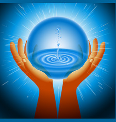 Ball magic ecology water hand flash light vector