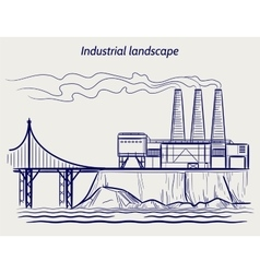 Ball pen sketch industrial landscape vector image