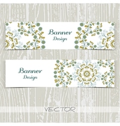 Banners Ornament Blue Flowers vector