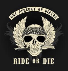 Biker skull with knife vector