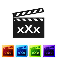 Black movie clapper with inscription xxx icon vector