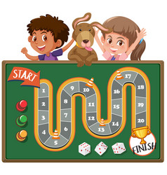 boardgame with kids and dog in background vector image