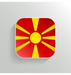 button - macedonia flag icon vector image