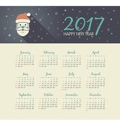 Calendar 2017 year with Santa Claus face vector