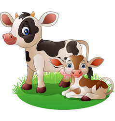 Cartoon cow with newborn calf vector