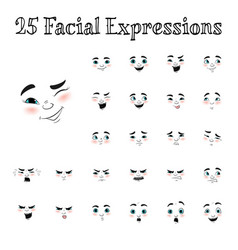 Cartoon faces expressions set vector