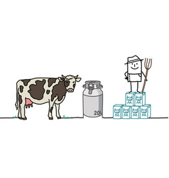 Cartoon farmer with cow and milk vector