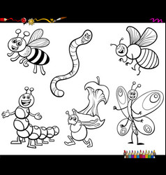 Cartoon insects characters coloring book page vector