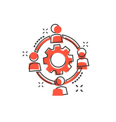 Cartoon outsourcing collaboration icon in comic vector