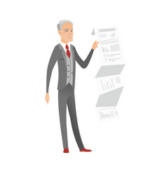 Caucasian businessman presenting business report vector