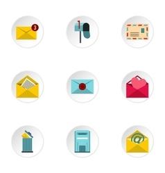 Communication via internet icons set flat style vector image