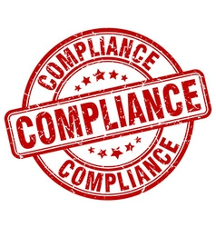 Compliance red grunge round vintage rubber stamp vector