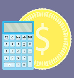 Count money on calculator vector
