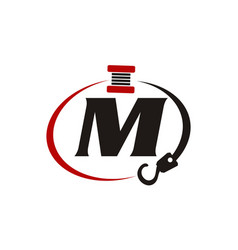 Crane hook towing letter m vector