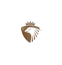 creative golden eagle shield crown logo design vector image