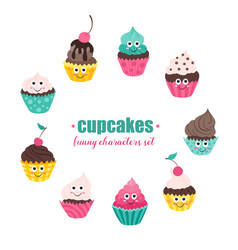 Cupcakes collection vector