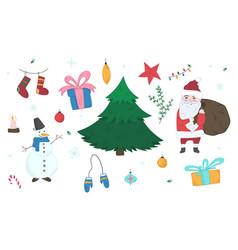 cute doodle christmas elements set vector image