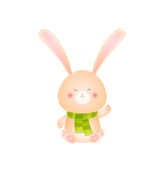 cute smiling rabbit sitting in green scarf on his vector image