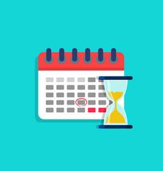 Deadline on calendar with hourglass plan vector