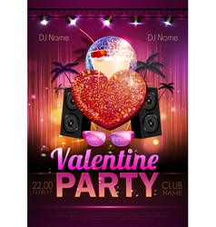 Disco Valentine party poster vector image