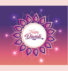 diwalic sticker decoration with mandala and lights vector image