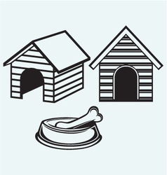Dog bowl with bone dog house vector