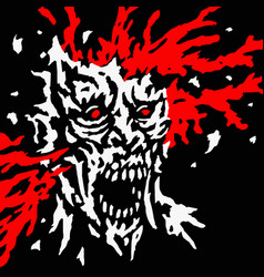 Exploded zombie head with splashes blood and vector
