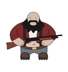 Fat redneck with shotgun vector