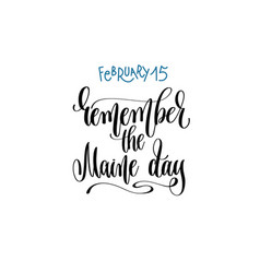 february 15 - remember the maine day - hand vector image