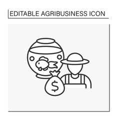 Fish farming line icon vector