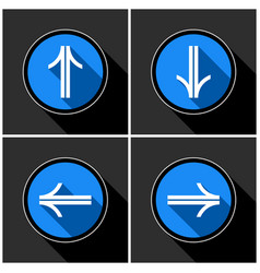 Four white blue arrows with black shadows vector