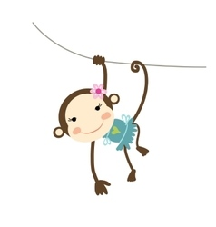 Funny monkey girl for your design vector