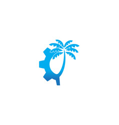 gear and palm tree logo designs inspiration vector image