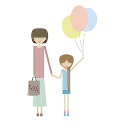 Girl with mom vector