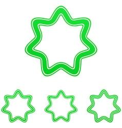 Green line star logo design set vector