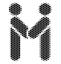 halftone dot persons handshake icon vector image