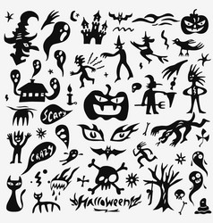 Halloween monsters doodles set vector