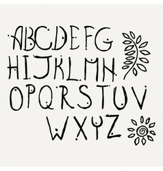 Hand drawn brush letters set Charcoal symbols vector image
