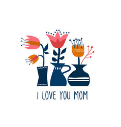 Happy mother day greeting card of spring flowers vector