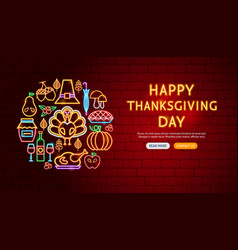 happy thanksgiving day neon banner design vector image